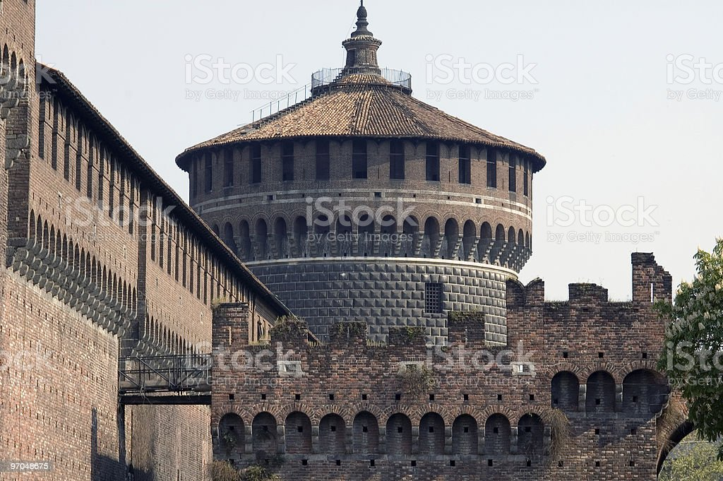 Milan - A cylindric tower of the Castello Sforzesco stock photo