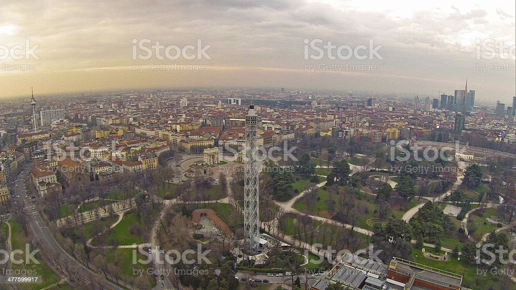 Milan Aerial View stock photo