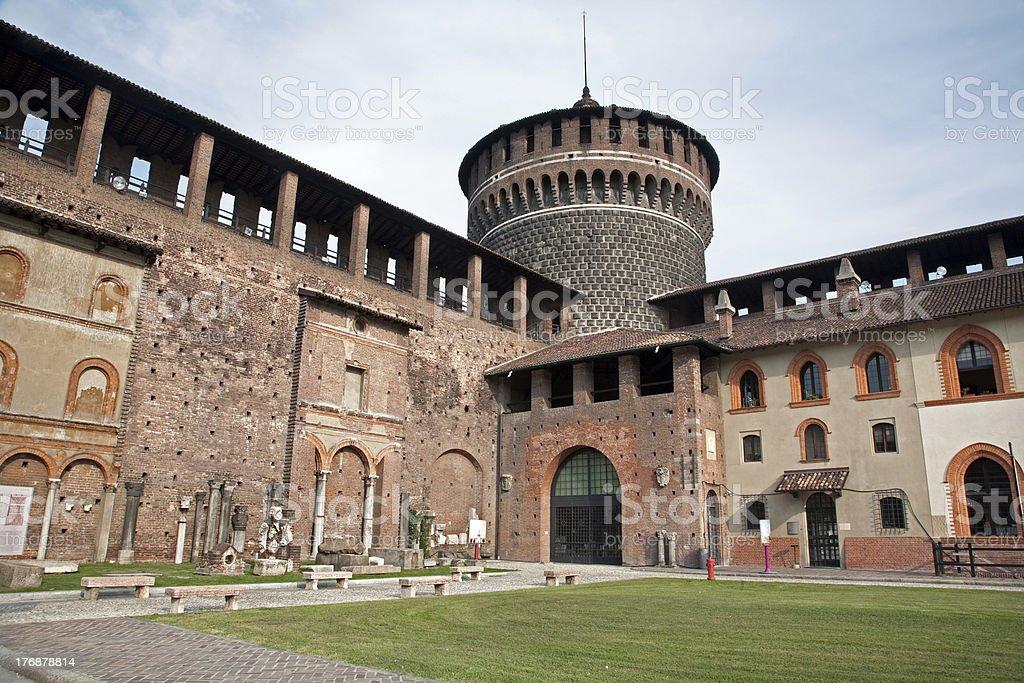 Milan - atrium of Sforza castle stock photo