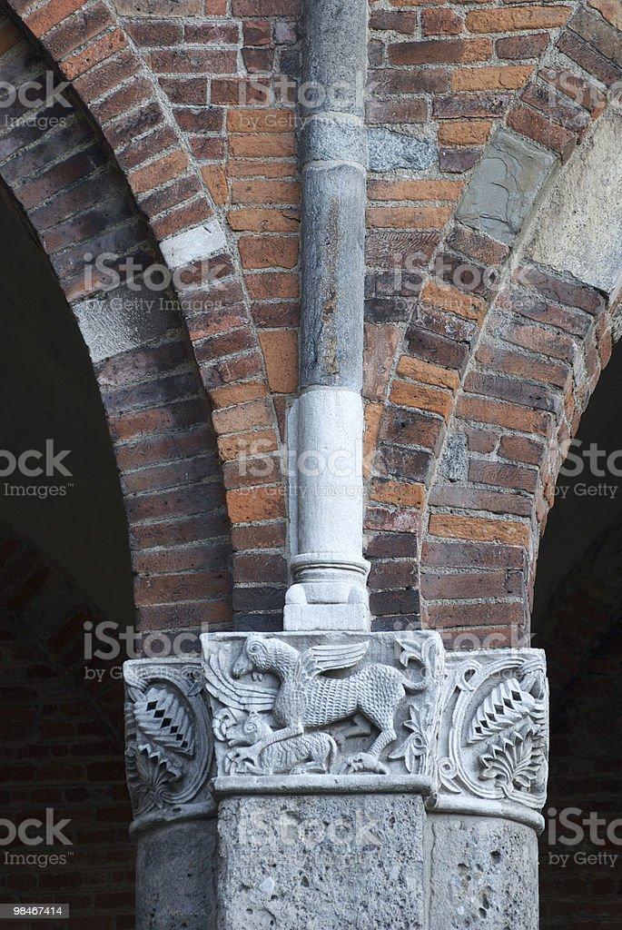 Milan (Italy) - Basilica of Sant'Ambrogio, Romanesque church: column royalty-free stock photo