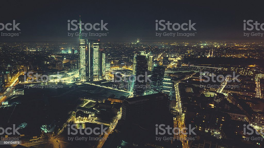 Milan by night up Area stock photo