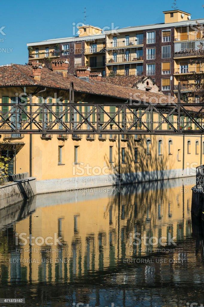 Milan (Italy), canal of Martesana stock photo