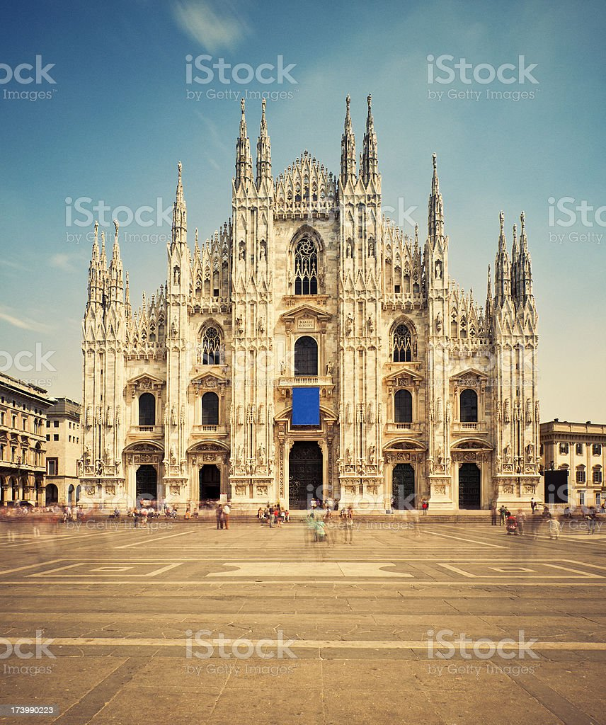 Milan Cathedral and Piazza del Duomo stock photo