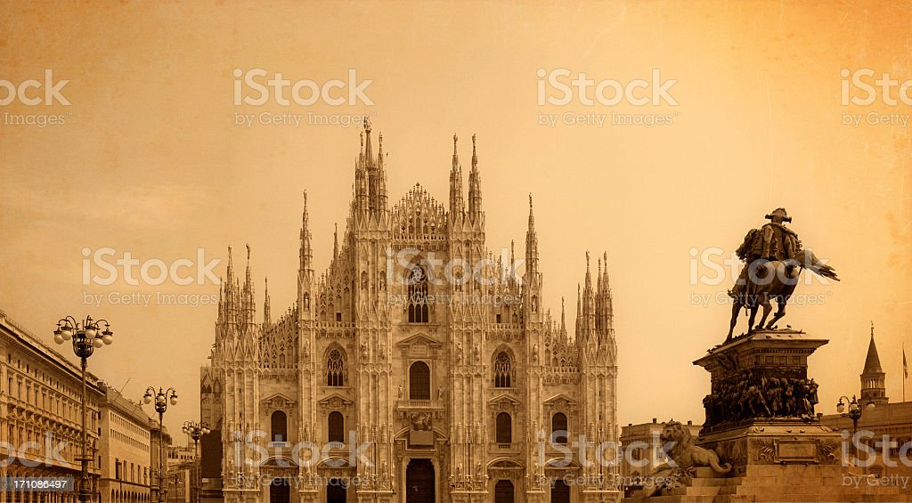 Milan Cathedral and statue of King Victor Emmanuel II stock photo