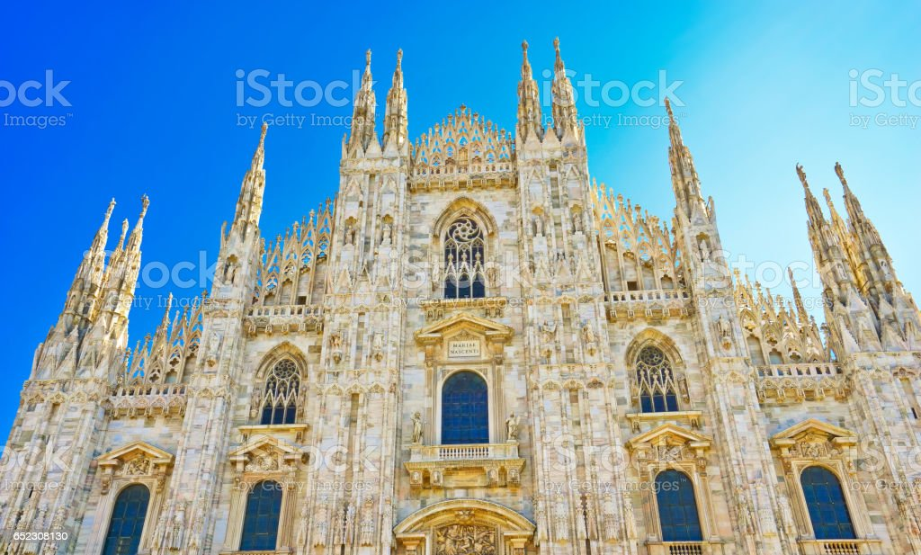 Milan Cathedral in a sunny day in Milan. stock photo