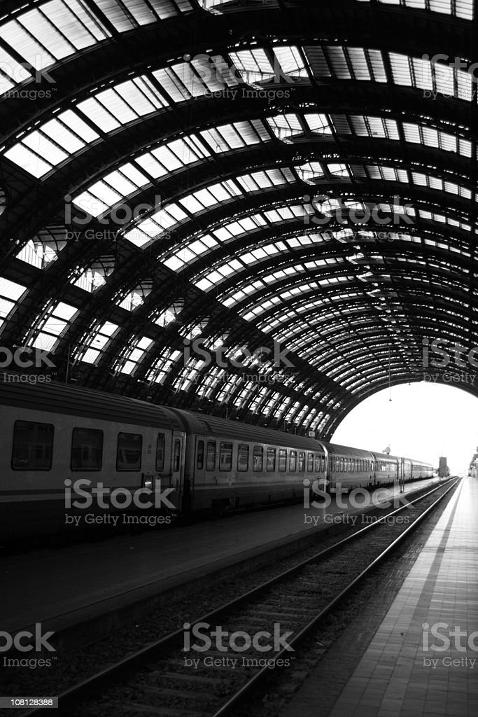 Milan Central Train Station with Railraod Tracks, Black and White royalty-free stock photo