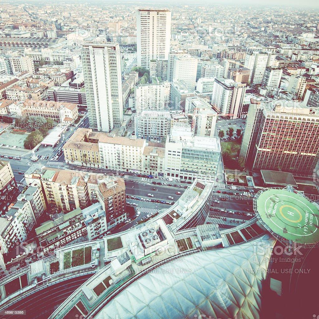 Milan city from Regione Lombardia skyscraper stock photo