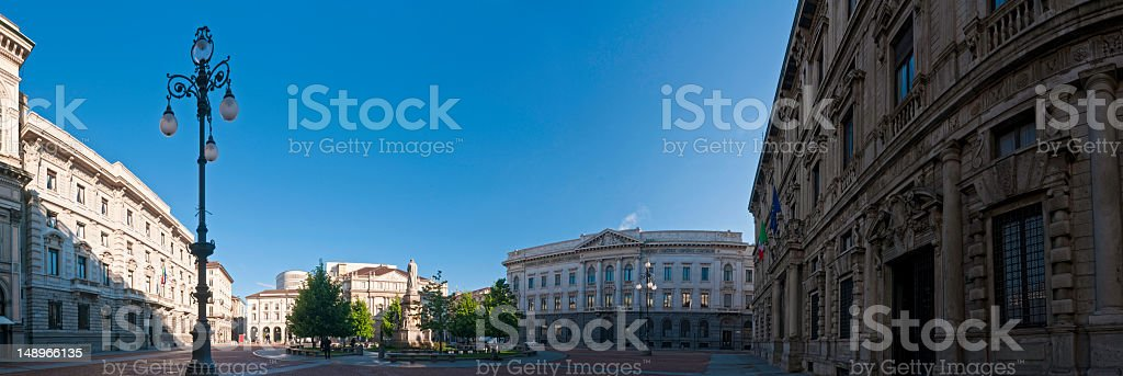 Milan dawn in Piazza della Scala royalty-free stock photo