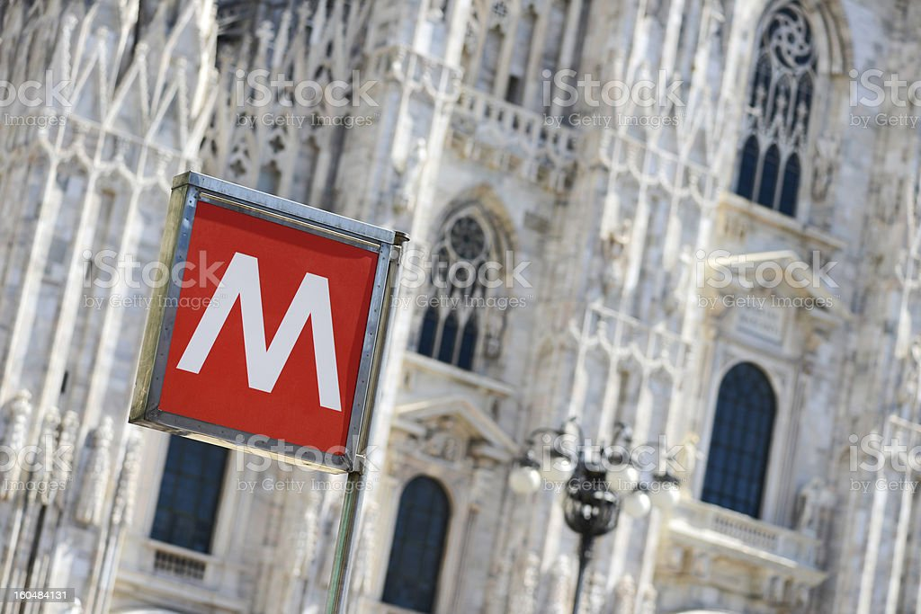 Milan Duomo cathedral subway station sign royalty-free stock photo