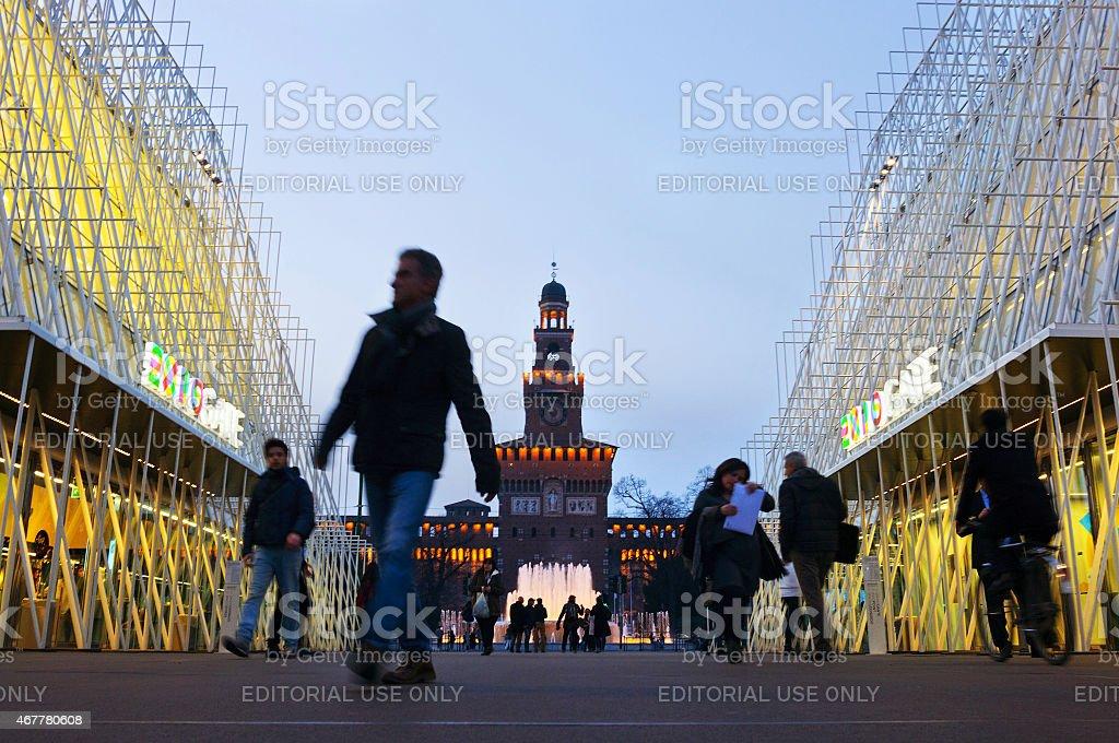 Milan Expo 2015 Information Building At Twilight stock photo