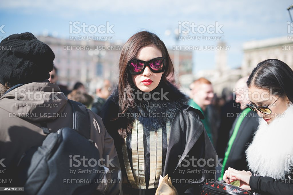 Milan Fashion week, Italy on February, 25 2015 stock photo