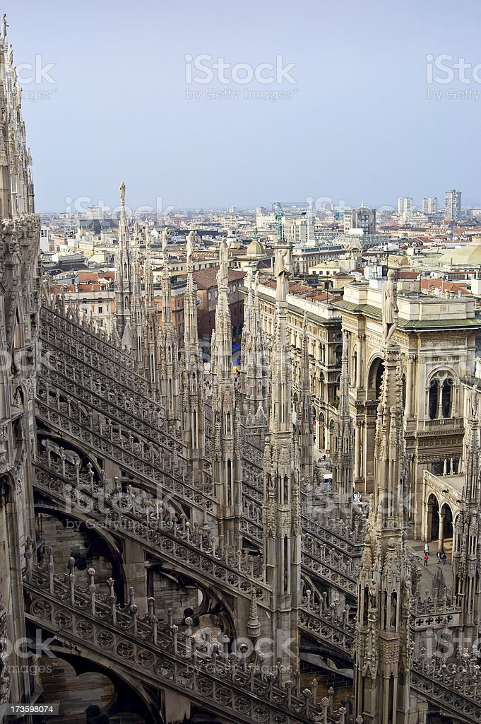 Mlan from the roof of Milano Duomo cathedral. royalty-free stock photo