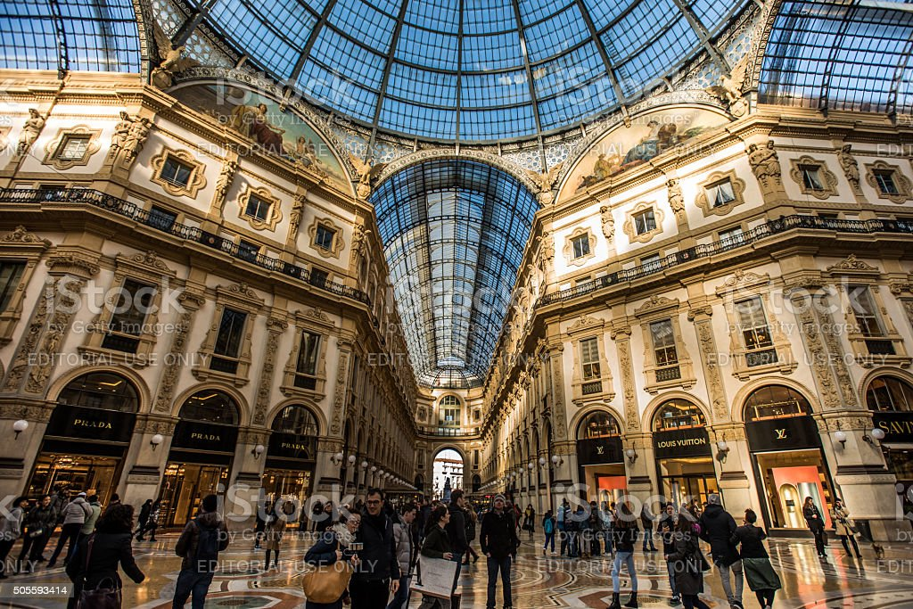 Milan, Italy 2016 - Newly refurbished Galleria Vittorio Emanuele II stock photo