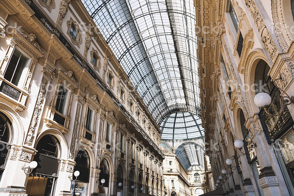 Milan Italy Galleria Vittorio Emanuele II Shopping Passage stock photo