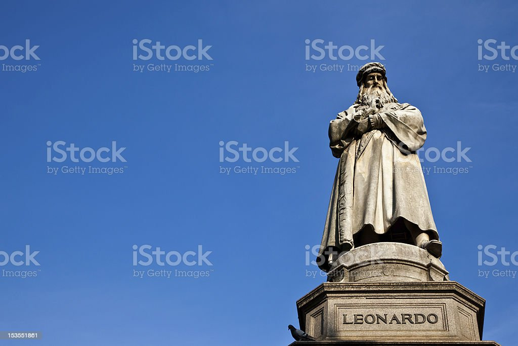 Milan - Italy: Leonardo Da Vinci statue royalty-free stock photo