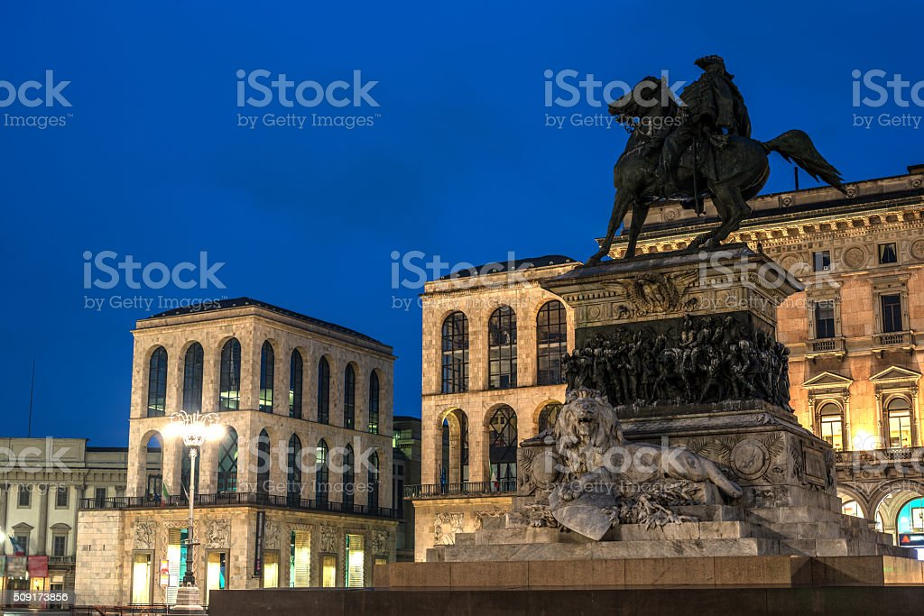 Milan, Italy: Monument to King Victor Emmanuel II, Cathedral Square stock photo