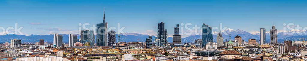 Milan Italy - panoramic skyline stock photo