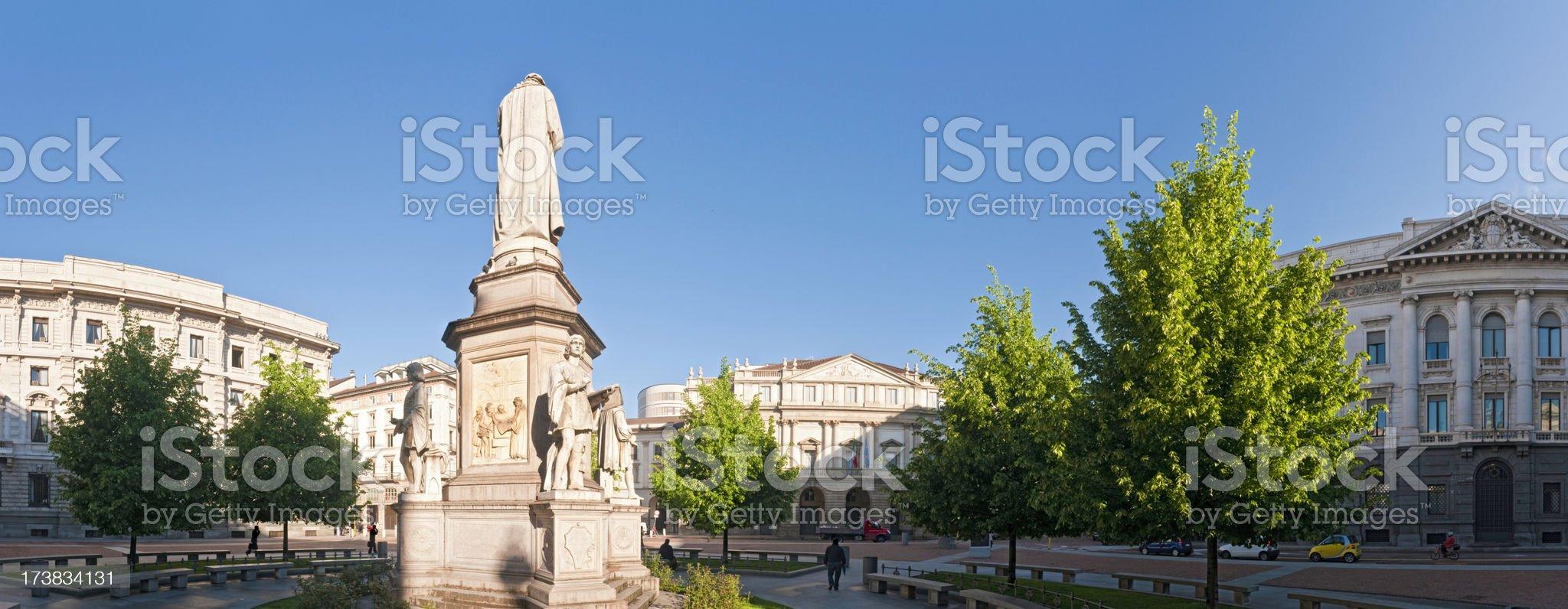 Milan La Scala piazza panorama royalty-free stock photo