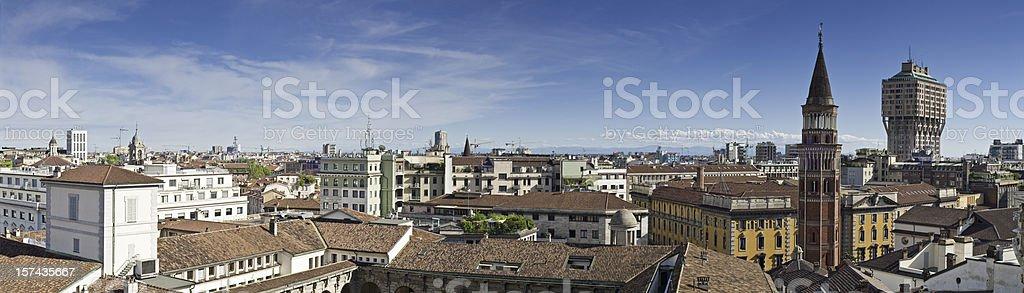 Milan landmarks cityscape urban panorama Italy royalty-free stock photo