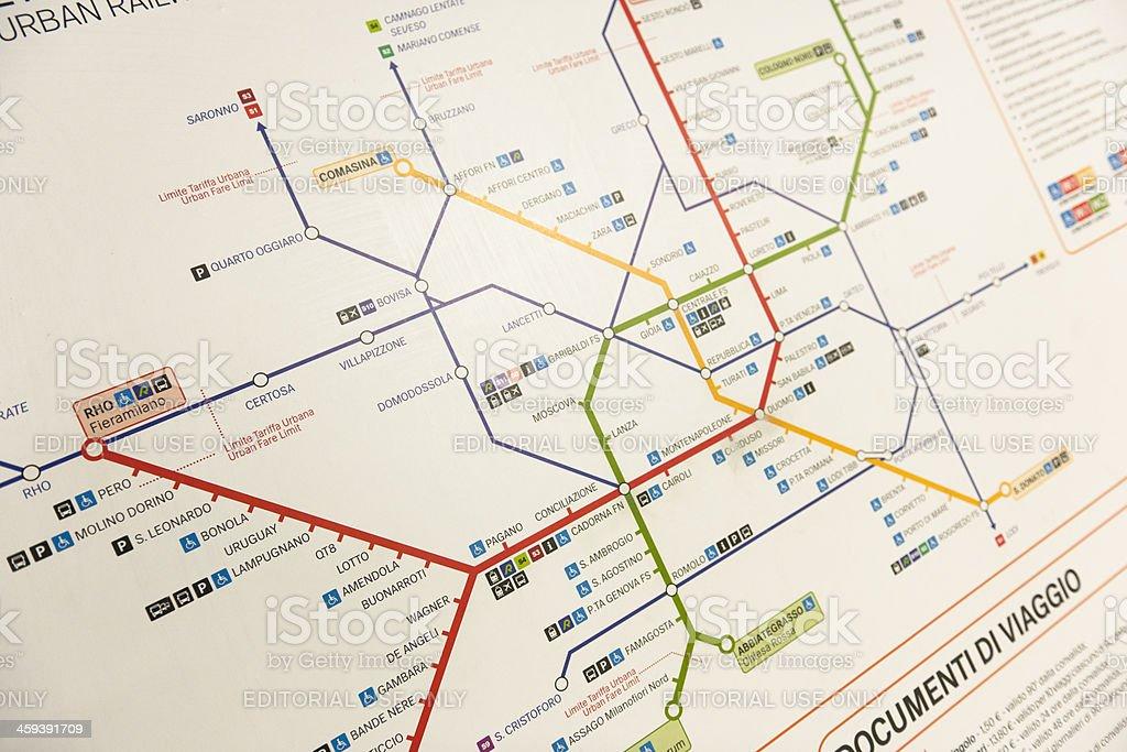 Milan metro maps on the underground stock photo