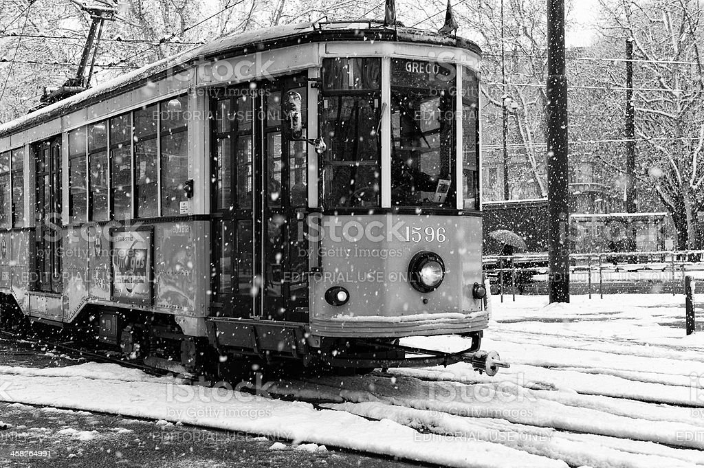 Milan on a snowy day. Black and White royalty-free stock photo