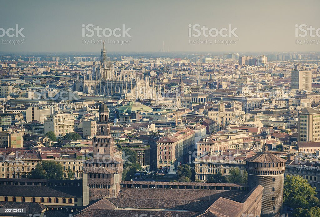 Milan panorama stock photo