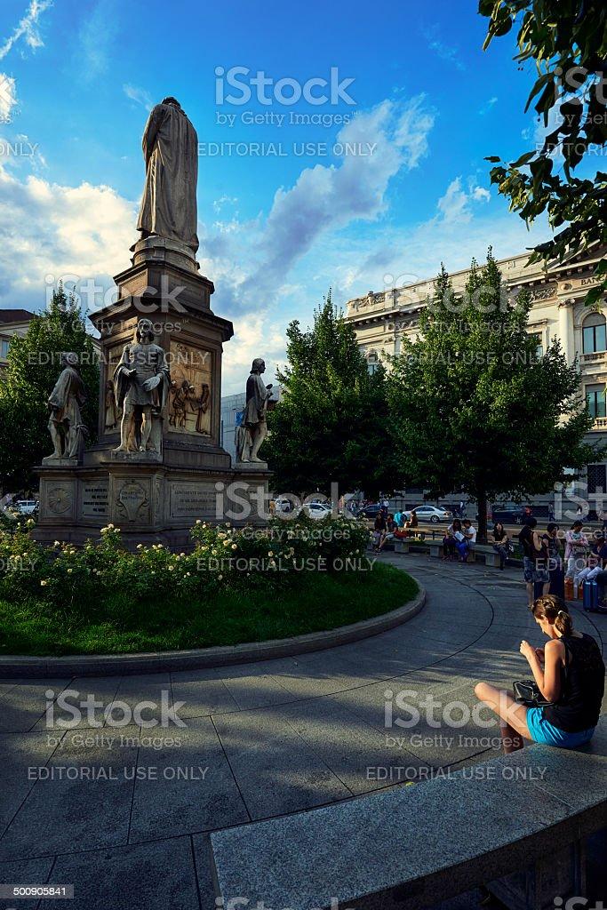 Milan. Piazza della Scala. Color Image stock photo
