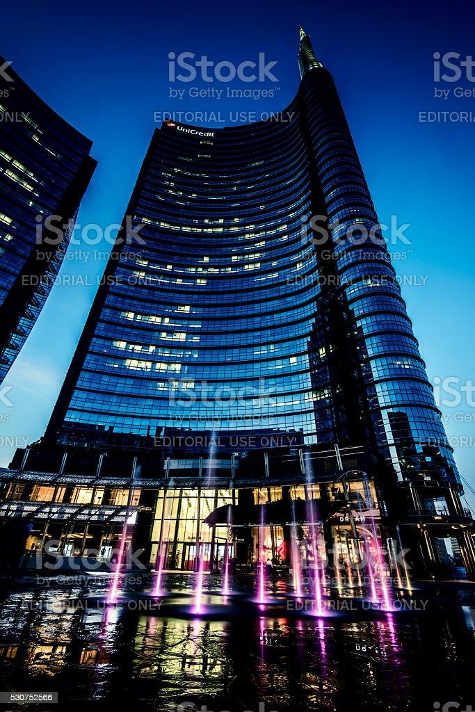 Milan Porta Garibaldi district. Unicredit Bank skyscraper stock photo