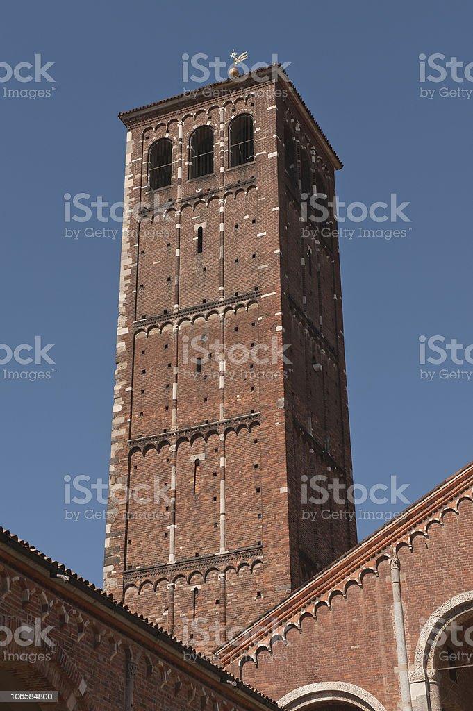 milan, saint ambrogio medieval basil stock photo
