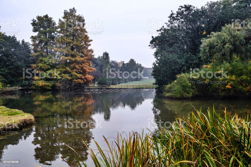 Milan (Italy): Sempione park at fall stock photo