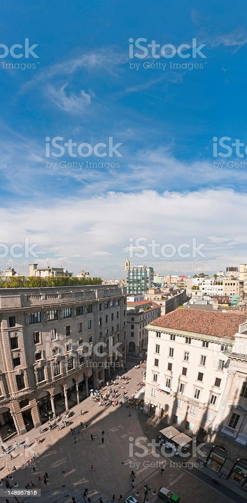 Milan shops streets and piazzas aerial vertical royalty-free stock photo