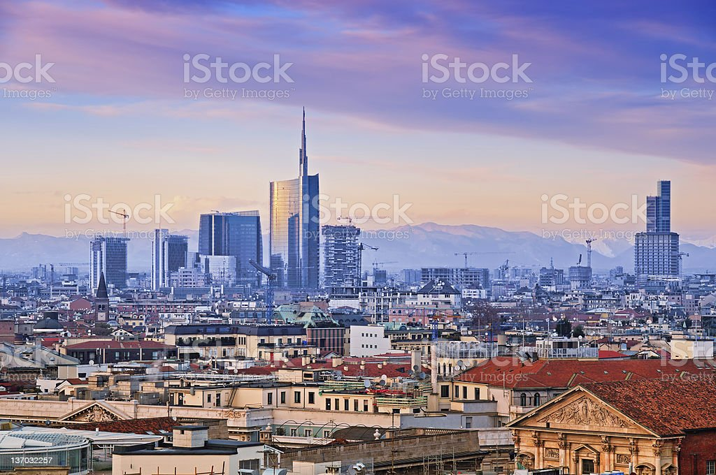 "Milan skyline from   (""Duomo di Milano""). Italy. stock photo"