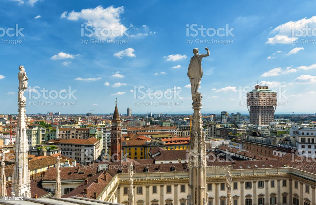 Milan skyline, Italy. View from rooftop of Milan Cathedral .