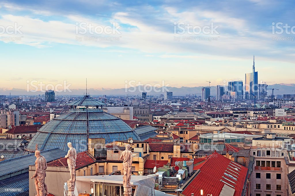 Milan skyline viewed from Duomo di Milan in Italy stock photo
