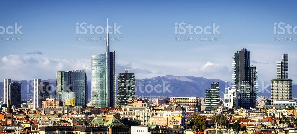 Milan (Milano) skyline with new skyscrapers stock photo