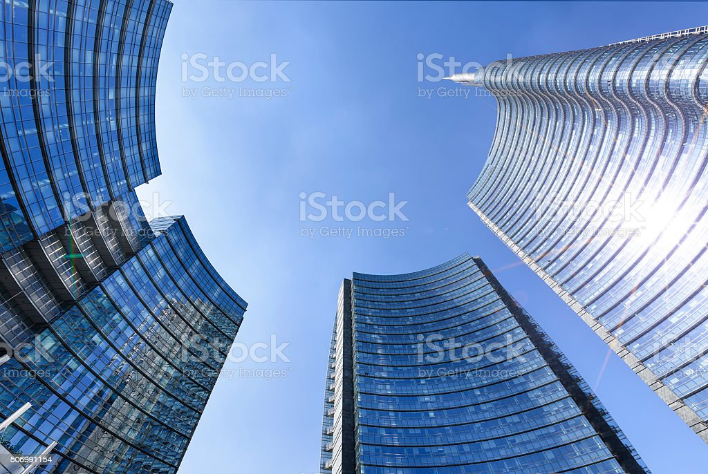Milan square Gae Aulenti stock photo