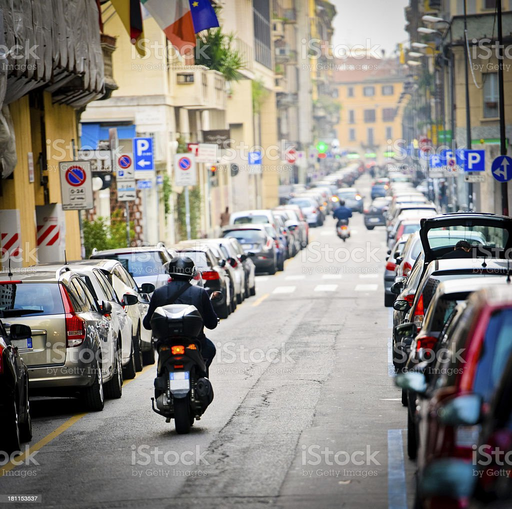 Milan Street stock photo