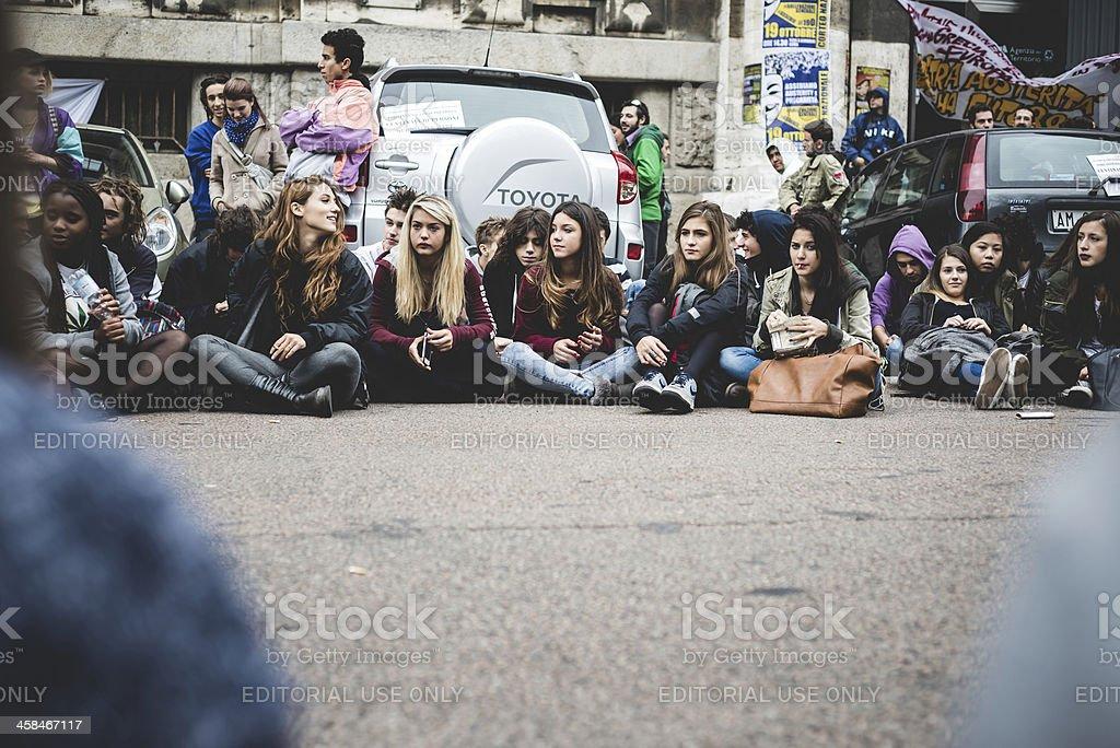 Milan students manifestation on October, 4 2013 royalty-free stock photo