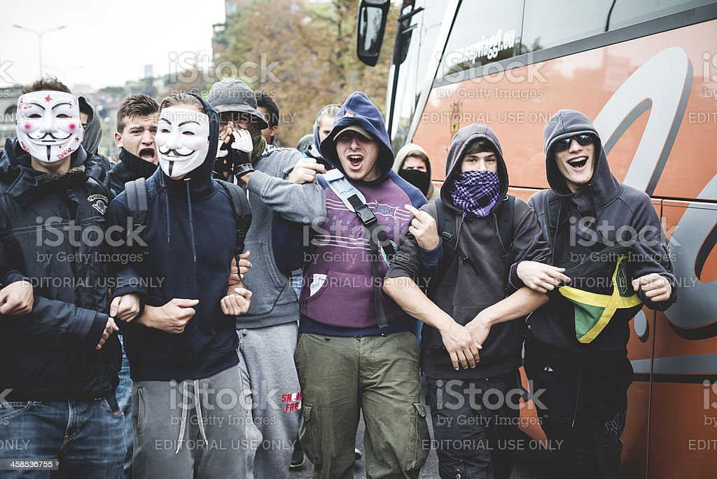 Milan students manifestation on October, 4 2013 royalty-free stock photo