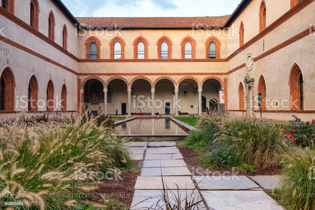 Milan (Italy): the castle, a courtyard stock photo