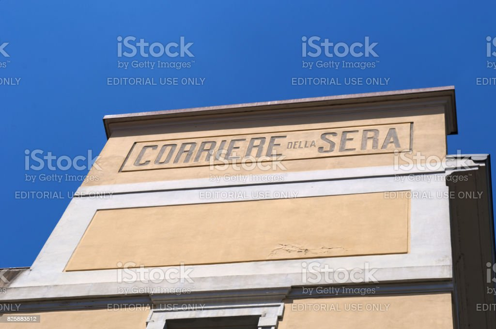 Milan: the historic sign of Corriere della Sera, the most important Italian daily newspaper stock photo