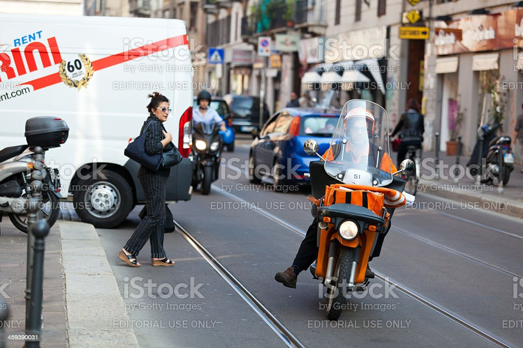 milan traffic scene stock photo