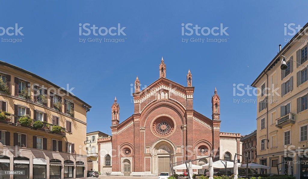 Milan tranquil piazza trattatoria stock photo