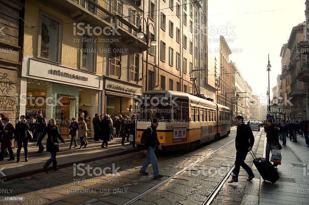 Milan Via Torino, Italy. stock photo