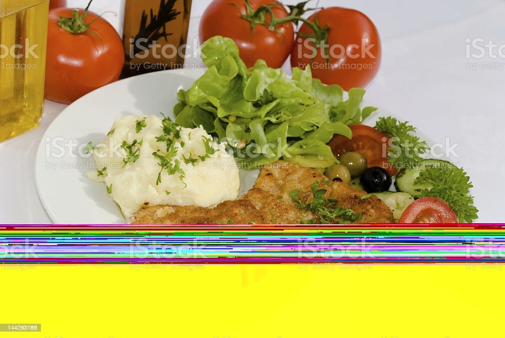 Milanese Steak with Potato Puree stock photo