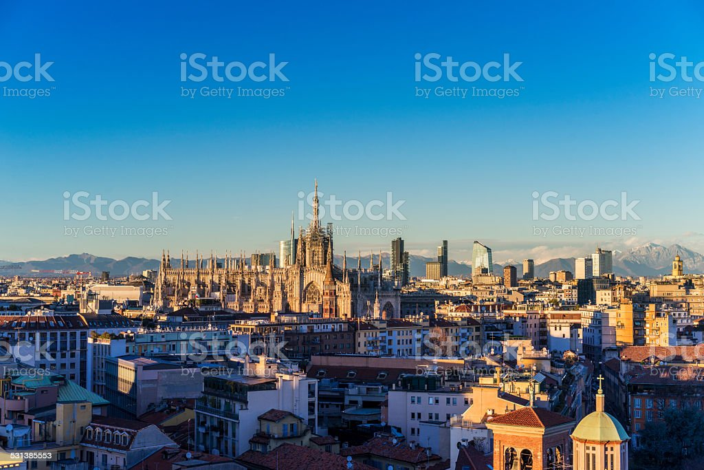 Milano, 2015 panoramic skyline with Italian Alps on Background stock photo