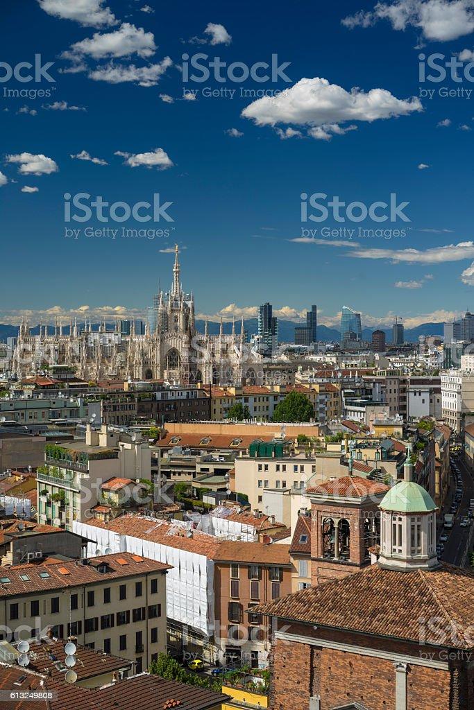 Milano, 2016 panoramic skyline with clear sky and italian Alps stock photo