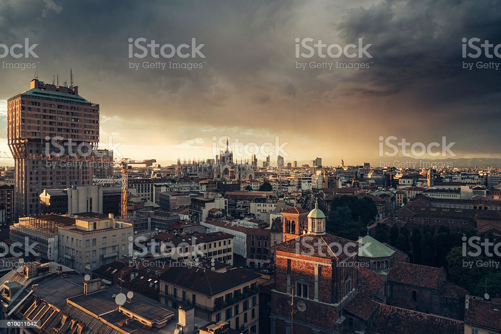 Milano, 2016 panoramic skyline with Italian Alps on Background stock photo