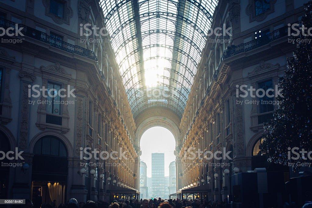 Milano Blue Skies: Galleria Vittorio Emanuele II stock photo