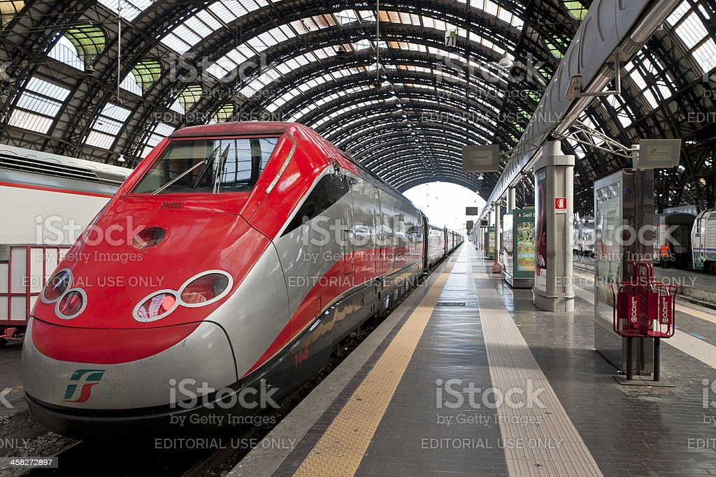 Milano Centrale train station platform stock photo